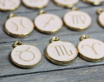 Zodiac Charm Set, Enamel Zodiac Charms, Gold Plated Charms, Birth Month Charms, Capricorn Charms, Taurus Charms, Zodiac Pendant, Jewelry