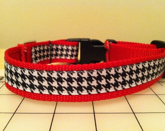 Large Red and Houndstooth Dog Collar