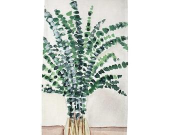 Cotton Muslin Tea Towel, Eucalyptus Watercolor Print, 18x30