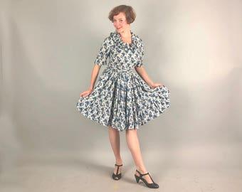 Vintage 1960s Dress | 60s Blue, Black, White & Ochre Paisley Square Dancing Day Dress With Ruffles, Full Skirt, and Matching Belt | Medium