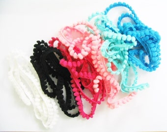 6 yards of Tiny pom pom trim assorted colors for making Barbie, Blythe and dolls clothes SET A