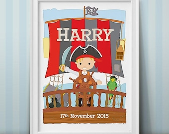 Personalised Little Pirate Captain Print