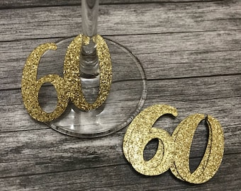 Number 60 Glass Charms or tags x 12 Silver or Gold - sixtieth Birthday party, Decorations