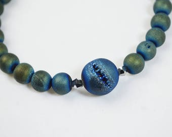 Bead and Leather Long Necklace - Blue Tan Druzy Quartz Agate Beads 11:11 Necklace & Belt - 1111