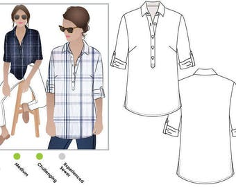 Style Arc Sewing Pattern - Lennie Over Shirt - Sizes 12, 14 and 16 - Women's Over Shirt & a rolled up buttoned sleeve - PDF Sewing Pattern