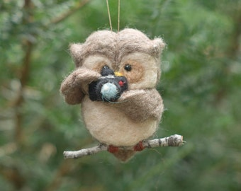 Needle Felted Owl Ornament - Holding Camera