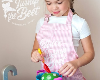 SALE lettuce turnip the beet ® kid apron - trademark brand - cotton - garden - kitchen - print - vegan - chef - farm - Made in USA