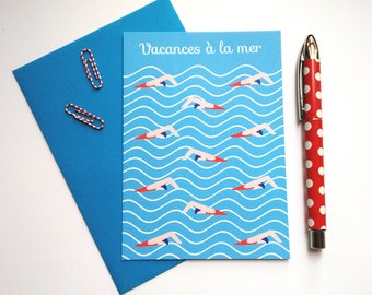 "Printed card ""Vacances à la mer"" / card / cards with messages / vacances à la mer"
