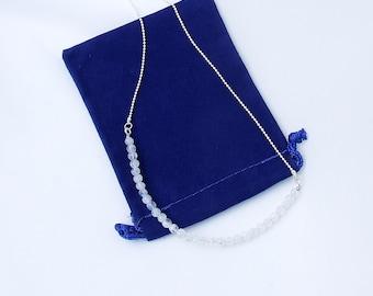 Moonstone Necklace, silver beaded chain, Rainbow Moonstone