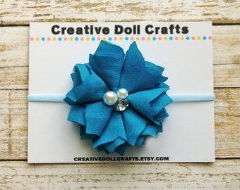 Doll Flower Headband, Spring Doll Headband, Blue Doll Headband, Doll Hair Accessory, Doll Hair Flower, Doll Headband, Doll Summer Headband