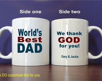 Personalized Dad Mug Gift- Gifts for Dad - Fathers Day Gifts - Father's Day Gift from Kids - Daughter - Son, MDA005