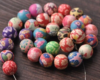 Wholesale Bulk Polymer Clay Round Beads Random Mixed - Diameter 6mm 8mm 10mm 12mm 15mm  RT010~RT015