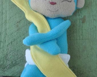 Blue little Monkey plush with banana blanket