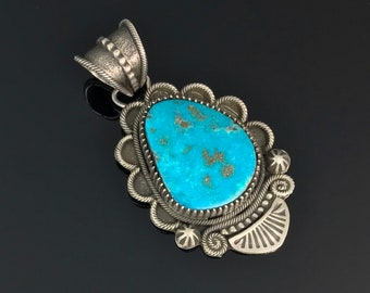 Old Style Turquoise Sterling Navajo Necklace Pendant Native American Signed - Richard Jim