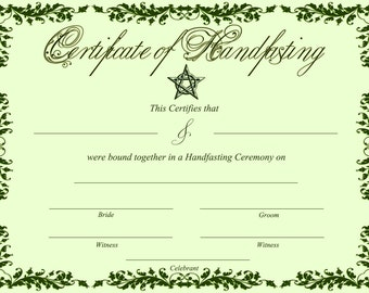 Celtic certificate etsy printable green handfasting certificate celtic pagan 0 yadclub Images
