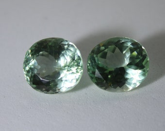 Green Kunzite Pair 21.65ct, Natural, Oval, VVS/IF Clarity, Suitabel for Earrings, Spodumene, Lithium Silicate