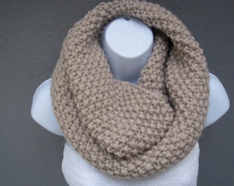 Seamless circle Knit infinity scarf, chunky scarf in Linen color or SELECT COLOR