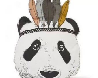 Panda native cushion kids nursery bedroom