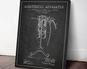 1918 Anesthetic Apparatus Patent Canvas Print, Anesthetic Machine, Medical Patent, Wall Art, Home Decor, Gift Idea, ME83C