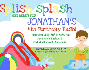 Waterslide Birthday Party Invitation (Any hair color) - Digital File