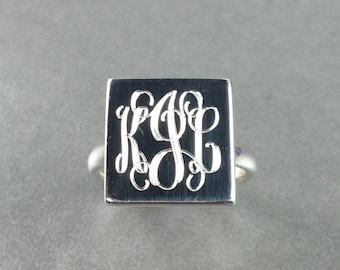 Monogrammed Sterling Silver Square Ring, Personalized Modern Classic Ring