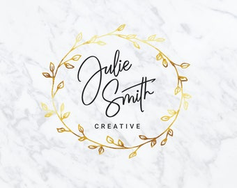 Premade Logo Design | Watercolor Logo Design | Photography Logo | Branding Set | Gold Foil Logo | Custom Logo Design | Marketing Kit | #49