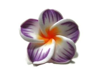 20mm Striped Purple Polymer Clay Plumeria Flower Beads set of 4 (P14)