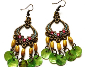 Boho Chandelier Earrings Colorful Bohemian Hippie Indian Shell Jewelry FREE SHIPPING