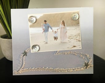 Magnetic Picture Frame Handmade Gift Home Decor Size 9 x 11 Holds 5 x 7 Photo Family Vacation Travel Getaway - Beach Lover Heart in Sand