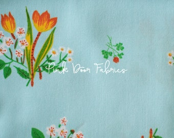 Kinder - Spring Blooms in Pale Blue - Heather Ross for Windham Fabrics - 43482-9  - 1/2 yard