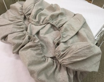 Fitted Crib Sheet in Washed Linen---Your Linen Color Choice-Baby Bedding in Washed Lightweight Linen-Custom Linen Fitted Crib Sheet