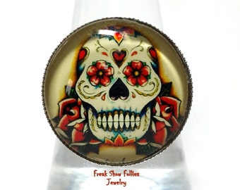 day of the dead tattoo sugar skull glass ring