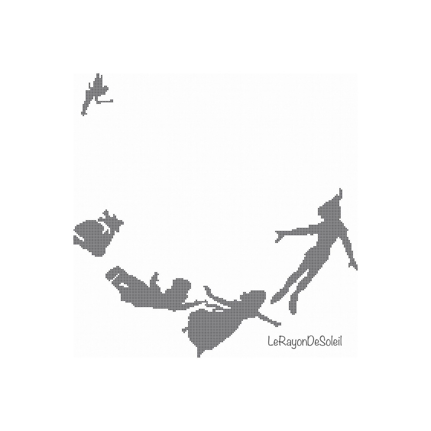 mary poppins coloring pages already colored | Modern cross stitch pattern Peter Pan Wendy and Co flying.