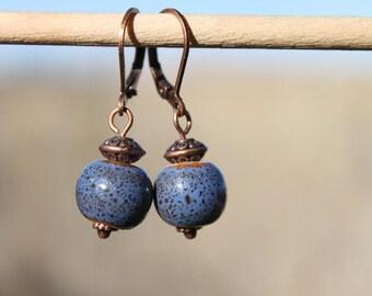 Blue Earrings Ceramic Earrings Jewelry Dangle Drop Earrings Small Earrings Birthday Gift Ideas Gift for her Gift for women