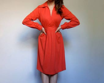 Vintage Red Dress 70s Long Sleeve Dress 1970s Collared Simple Day Dress - Large L
