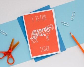 Tiger Card Animal Alphabet Card / Animal Alphabet / Blank Greeting Card / Notecard / Animal Card / Tiger Birthday Card / Jungle Card