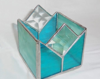 Stained Glass Candle Holder- Blues and Bevels-Wedding Table Decor- Gift