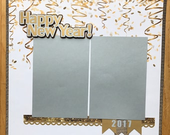 New Year's Eve Scrapbook Page, Family Scrapbook Album Page, Premade New Year's Eve Scrapbook Page, 12 x 12
