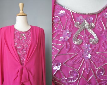 Fuchsia Cocktail Dress / Vtg 80s / Ursula of Switzerland Hot Pink Beaded Cocktail Dress / Draped Chiffon Mother of the Bride Dress / Size 12