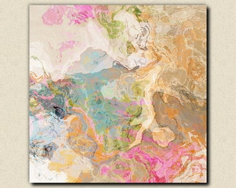"""Large abstract expressionism stretched canvas print, 30x30 to 36x36 in pastels, from abstract painting """"Dreamgirl"""""""