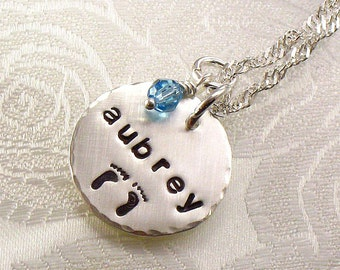Personalized Mommy Necklace - One Name with Baby Feet - Baby Footprint Jewelry for the New Mom or Expectant Mom - Stamped Women's Jewelry
