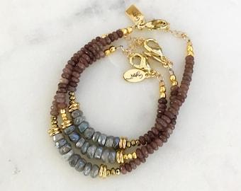 Mystic Labradorite + Purple Adventrine Beaded Bracelet, purple beaded, labradorite