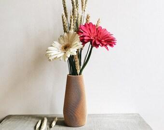 Vase WAVE design hygge géométrique et minimaliste imprimé en Bois parfait pour plantes et fleur décoration / idée cadeau Fête des mères