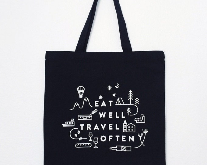"Eat Well Travel Often Tote Bag (Black) | 15""x 16"" 