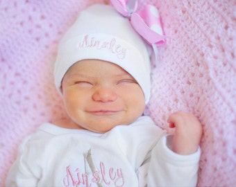 Personalized name hat for baby, personalized hospital hat, baby girl name hat, newborn hospital hat, newborn first photo hat pink white