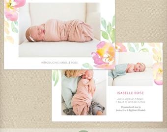 5x7 Birth Announcement Template, Birth Announcement Card, Photo Announcement, Multiple Pictures, Watercolor Flowers, Feminine - B4