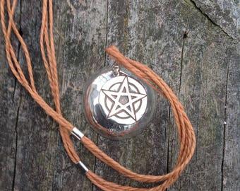 Pentagram, Mens  Sterling Silver Pentacle Pendant Necklace