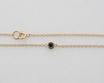 Sapphire Bezel Bracelet in 14K Solid Gold