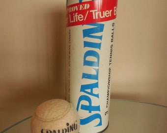 Tin Spalding Tennis Can and One White Tennis Ball
