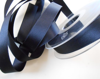 "Ribbon Satin Luxe Double Face Dark Blue 5/8"" width 3 yds"
